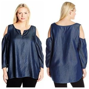 3/30$ NYDJ Agnes Cold Shoulder Chambray Lyocell Classic Blouse Size 2X